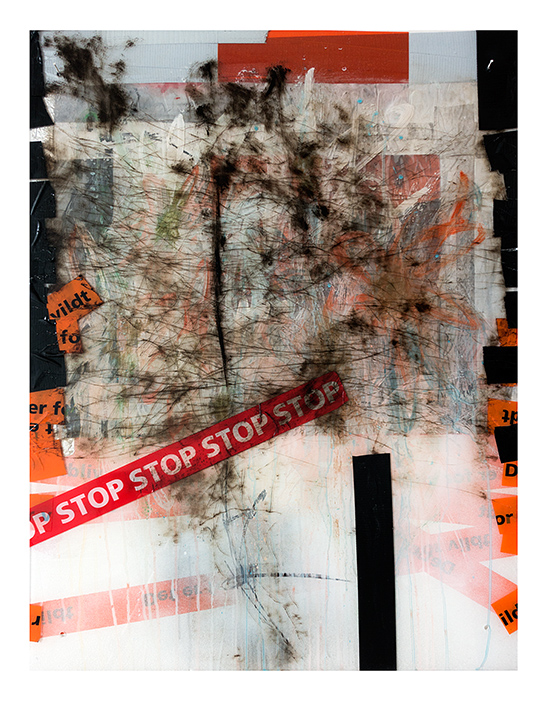 etching, paint, tape on plexi glass 60 x 70
