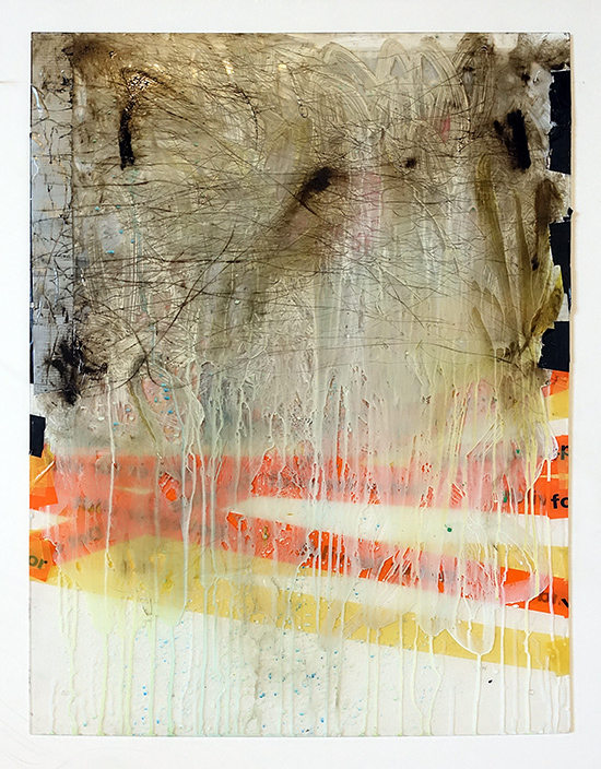 tape, paint, etching on plexi glass 60 x 70