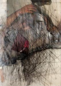 vluchtplan1 etching, photo on plexi glass  35 x 40